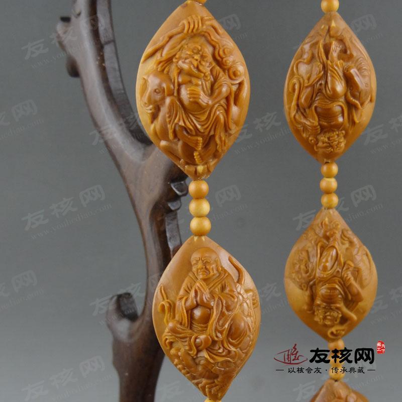 苏工核雕名家陈素林 全身十八罗汉 2.2核长串